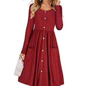 231be4fc7 KILIG Women's Dresses Long Sleeve Casual Button Down Swing Dress with  Pockets(Wine,M